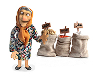 Old Candy Lady- Clay figurine & set design