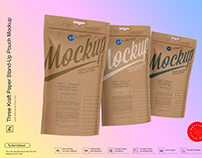 Three Kraft Paper Stand-Up Pouch Mockup