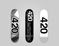 420 Skate store. Skateboard design and business cards
