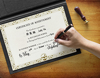 Free A4 Size Achievement Certificate Mockup PSD