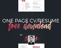 ONE PAGE CV RESUME FREE PSD DOWNLOAD