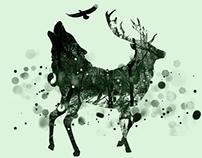 Wolf Deer Eagle Mashup Be Natural Graphic design