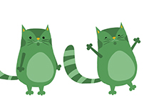 "Character Design - App ""Green Cat"""