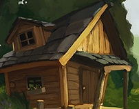 little cottage in sunny forest