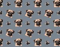 WIP - Hand-drawn Pug Patterns
