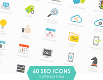 5 Styles of 60 SEO & Development Icons