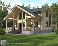 Визуализация роскошного дома с террасами из бруса