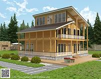 Визуализация трехэтажного дачного дома из бруса