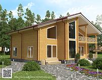 Визуализация загородного дома с террасой и балконом