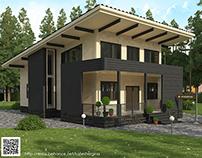 Визуализация дома из бруса в стиле хай-тек