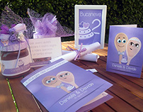 Coordinato grafico per nozze lilla a tema