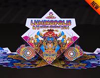 Flyer for Luminopolis (psytrance music event)