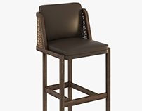 3d model of AUTOBAN  THRONE BAR STOOL WITH RATTAN