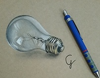 Realistic light bulb drawing