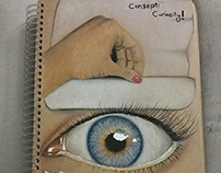 Realistic eye and hand, Curiosity Consept