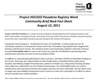 Survey Report from Project HOUSED Pasadena