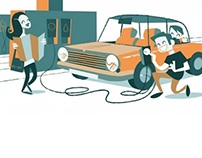 Retro illustrations for driving safe