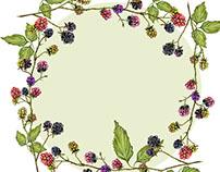 watercolor round frame of blackberries