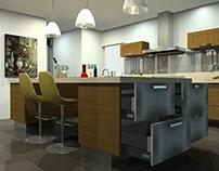 Kitchen- Walnut Wood + Silestone Quartz
