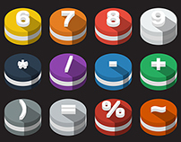 3D Flat Icons Set with long shadow - Alphabet, Numbers!
