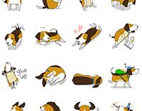 Cute dog / Beagle Boy - Line Sticker