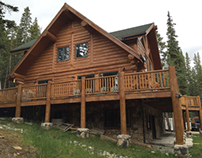 Re-Stain log home Fairplay Colorado