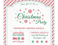 Green & Red Snowflakes | Christmas Party Invitations
