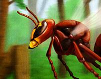 European Hornet flies through the forest.