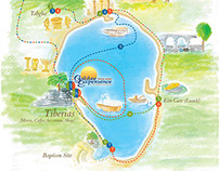 ilustrated map of the sea of galilee
