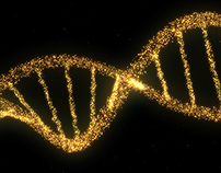 DNA Double Helix Strand of Particles