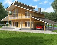Современный дом из бруса с мансардой
