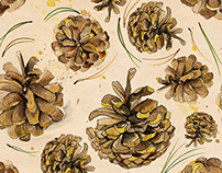 Watercolor pine cones seamless pattern