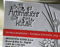 Letterpress business card for Aromatični kutak
