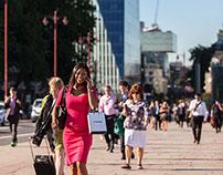 Commuters on Blackfriars Bridge, London