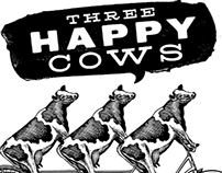 Three Happy Cows Illustrations created by Steven Noble