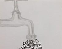 Uit de kraan (doodle vs reality)