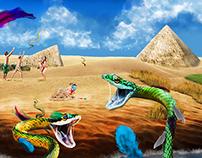 Snake Desert Collaged Rendering