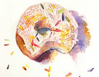 Watercolor donut