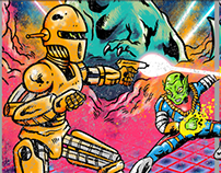 Now in Threadless: Dinosaurs vs. Robots vs. Aliens