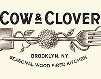 Cow & Clover Logo Identity illustrated by Steven Noble