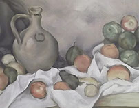 Paul Cezanne. Still life, drapery, jug and fruits. Copy