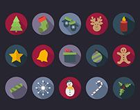 15 Flat Christmas Vector Icons