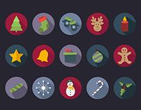 15 Flat Christmas Vector Icons