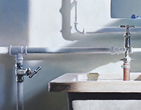 Washroom, 2014, 40 × 120 cm, oil on canvas