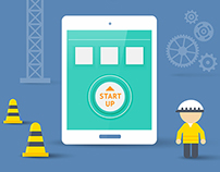 Start Up Of Mobile App. Flat Style Vector Illustration