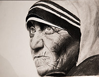 Mother Teresa portrait with Graphite & Charcoal