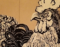 地鶏屋 壁画