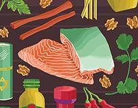 Walnut and Herb-Stuffed Salmon with Spicy Tahini Sauce