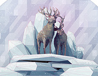 Low-poly winter animals