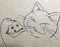 らくがき 豆大福 猫